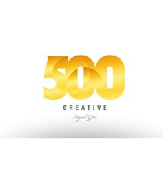 500 gold golden metal gradient number logo icon vector