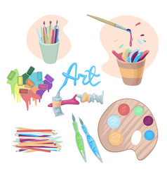 Artists accessories paints in cuvettes and vector