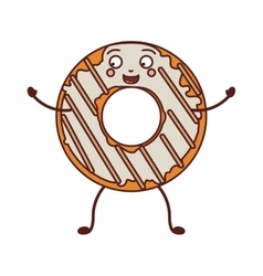 Avatar donut with white glazed and stripeds vector