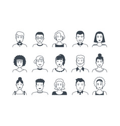 avatar line icons male and female hand drawn vector image