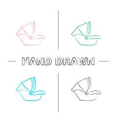 Baby car seat hand drawn icons set vector