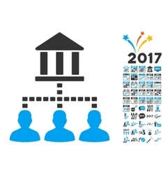 Bank building client links icon with 2017 year vector