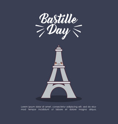 Bastille day celebration card with eiffel tower vector