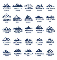 big set mountain icons design element for logo vector image