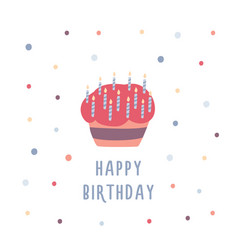 Birthday cake or cupcake decorated with candles vector