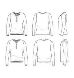 blank clothing templates of long sleeved tee vector image
