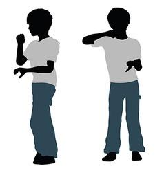 Boy silhouette in Brushing Teeth Pose vector