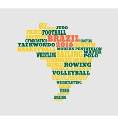 Brazil map with text various sport competition vector