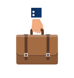 Businessman hand holding briefcase vector