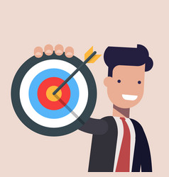 businessman or manager pointing to the big target vector image