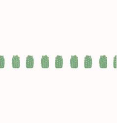 Cactus flowering bloom seamless border pattern vector