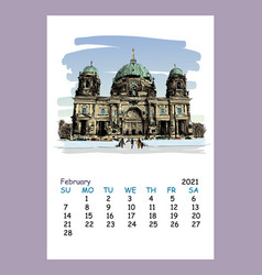 Calendar sheet february month 2021 year berlin vector
