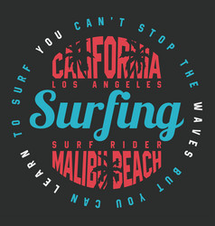 california surf typography for t shirt print vector image