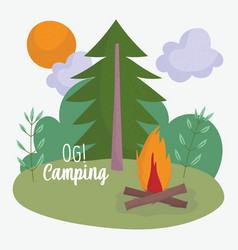 camping bonfire tree sun sky vacations activity vector image