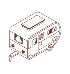 camping isometric trailer in line art vector image