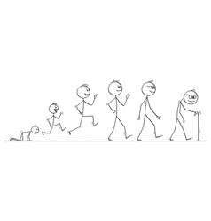 cartoon aging process human man from baby vector image