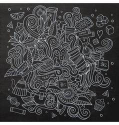 Cartoon schalkboard doodles hand drawn tea vector