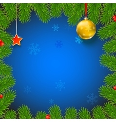 Christmas background with fir branches red vector image