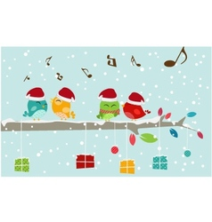 Christmas card with bird and gift box vector image