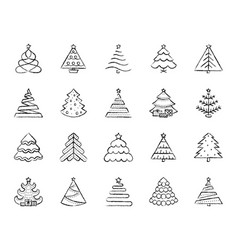 Christmas tree charcoal draw line icons set vector