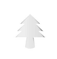 Christmas tree white paper cutout with shadow vector