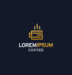 Coffee logo with letter cg with gold color vector
