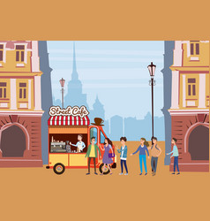 coffee truck barista colored coffee shop outdoor vector image