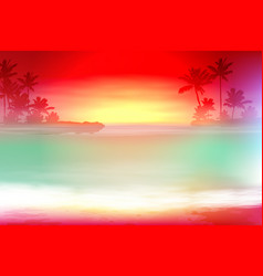 colorful background with sea and palm trees vector image