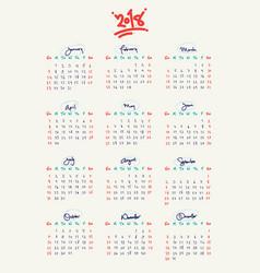 completely hand written custom 2018 calendar vector image