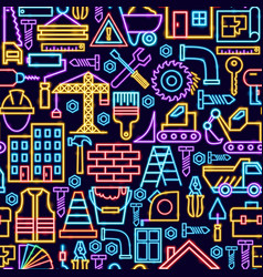 construction seamless neon pattern vector image