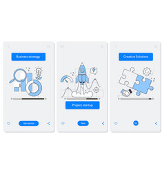 cooperation and interaction onboarding mobile app vector image