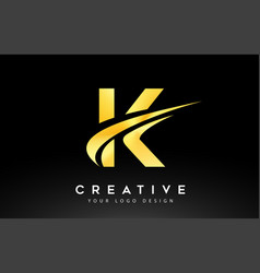 Creative k letter logo design with swoosh icon vector