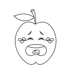 Crying apple cartoon icon vector