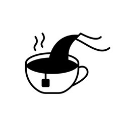 Cup with tea bag pouring boiling water teapot vector