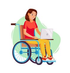 Disabled woman person working woman vector