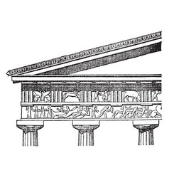 Doric entablature the proportions of the column vector