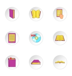 Education book icons set cartoon style vector