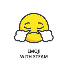 emoji with steam emoji line icon sign vector image