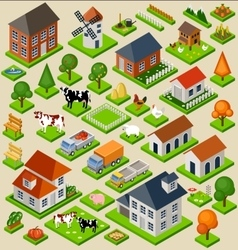 Farm toy blocks isometric set vector image