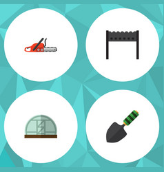 flat icon dacha set of hothouse barbecue trowel vector image