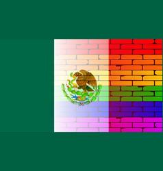 gay rainbow wall mexico flag vector image