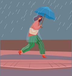Girl in rain with umbrella autumn rainy weather vector