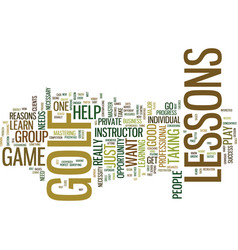 Golf lessons a necessity or not text background vector