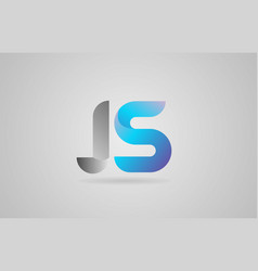 Grey blue alphabet letter js j s logo icon design vector