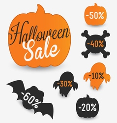 Halloween Sale Elements and Stickers vector image