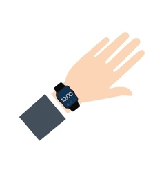 hand with smart watch wearable technology vector image