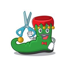 Happy barber elf shoes mascot cartoon character vector