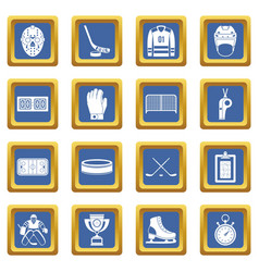 Hockey icons set blue vector