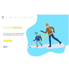 Hockey training father and son child playing vector