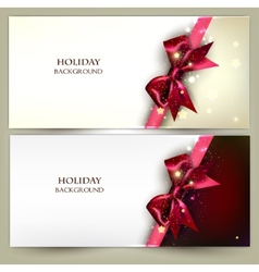 Holiday banners with red bows and copy space vector image